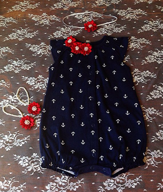 Baby girl clothes Nautical baby girl jumper baby by Aupetitpied, $39.99 - navy / white / Etsy / romper / anchors