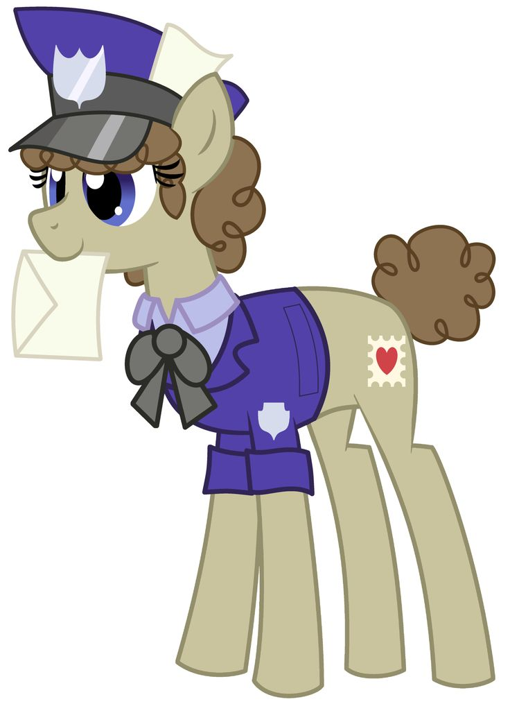 This is Pell Mell, the fine mailpony. You'd think the'rd be a unicorn to do that job...then again, Derpy's a mailpony.