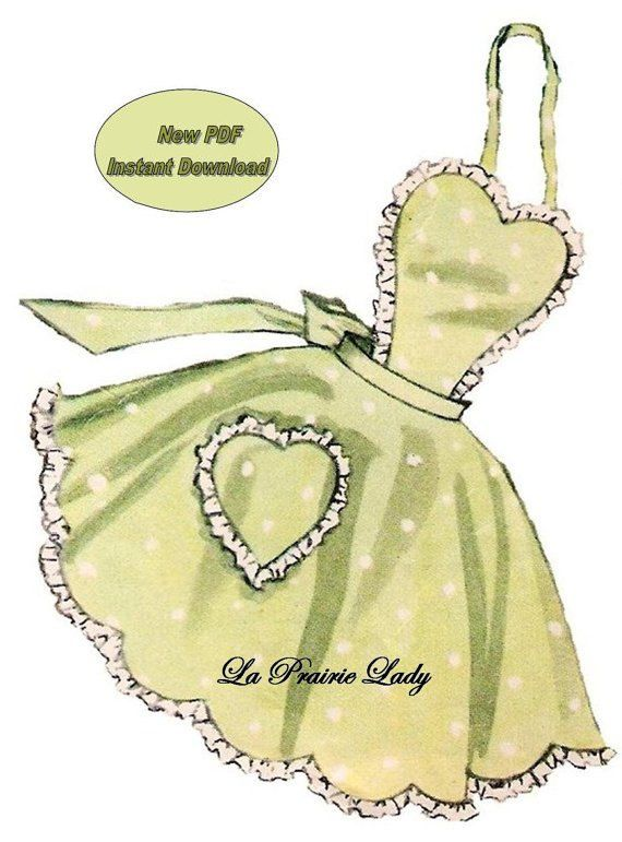Repro of Vintage Full Apron Pattern 50s on PDF No 16 Now Available for Instant Download