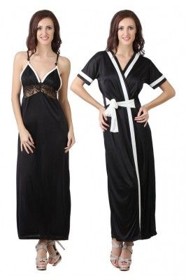 Black Satin 2 Pcs Set of Nighty with Robe #nightywithrobe #blacksatinnightwear #womensfashion #womensnightwear #onlinesleepwearforwomen Shop here-  https://trendybharat.com/black-satin-2-pcs-set-of-nighty-robe-dp101b?search=women%20%20nightwear&page=14