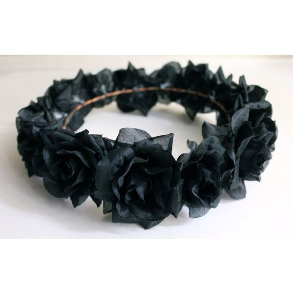 Black Flower Crown, Gothic Flower Crown, Black Flower Headband, Rave... ($28) ❤ liked on Polyvore featuring accessories, hair accessories, floral garland, black headband, rose flower crown, head wrap headband and floral crown