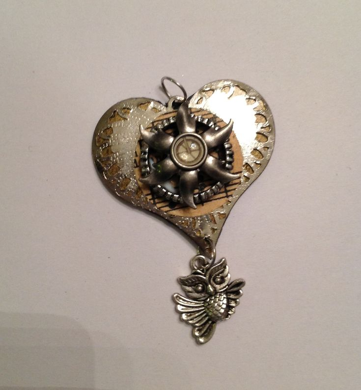 Heart shaped steampunk inspired brooch by Priscilla's Emporium on Etsy