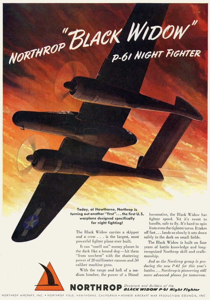 "Northrop ""Black Widow"" P-61 Night Fighter - This is the plane my grandfather flew in WWII: Military Posters, Black Widow, Aircraft, Graphics Posters, Wwii Posters, Wwii Aircraft, Ww2 Posters, Warbird, Aircraft Ads"