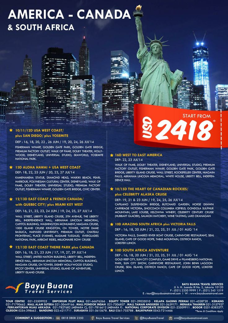 Experience School & Lebaran Holidays to USA! Book Now on 021 2350 9925 or email us : touranzacs@bayubuanatravel.com for itinerary