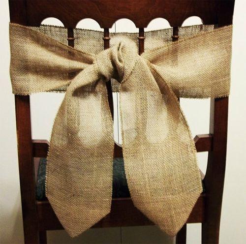 Rustic Wooden Burlap Chair Tie