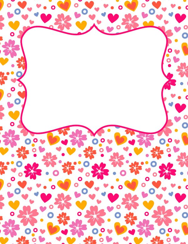 Free printable hearts and flowers binder cover template. Download the cover in JPG or PDF format at http://bindercovers.net/download/hearts-and-flowers-binder-cover/