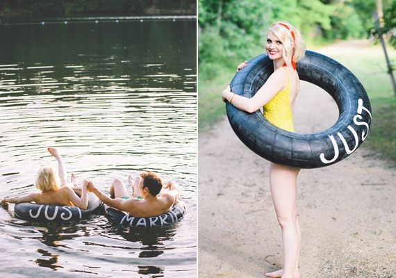 """Just married"" inner tube exit. 