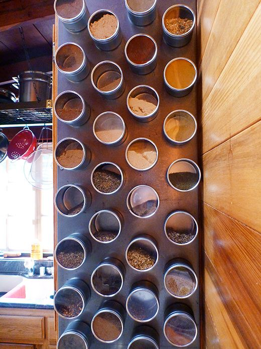 DIY vertical magnetic spice rack