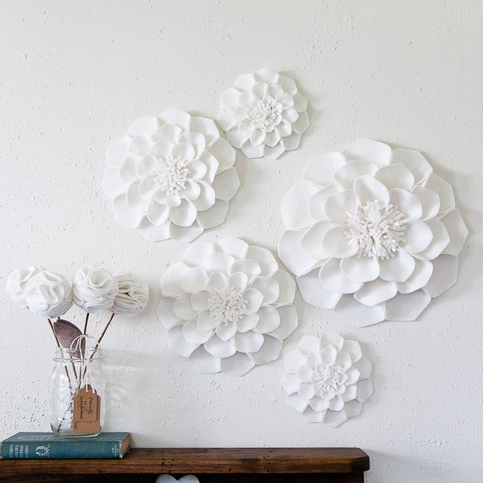 Giant wall flowers made out of felt