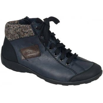 Jura is a light weight but sporty ankle boot with a side zip and lace up fastening for ease of entry and adjustability. With a hard-wearing sole, these boots will look just superb either with leggings or your jeans.  http://www.marshallshoes.co.uk/womens-c2/rieker-womens-jura-blue-black-lace-up-ankle-boot-l6540-06-p3904