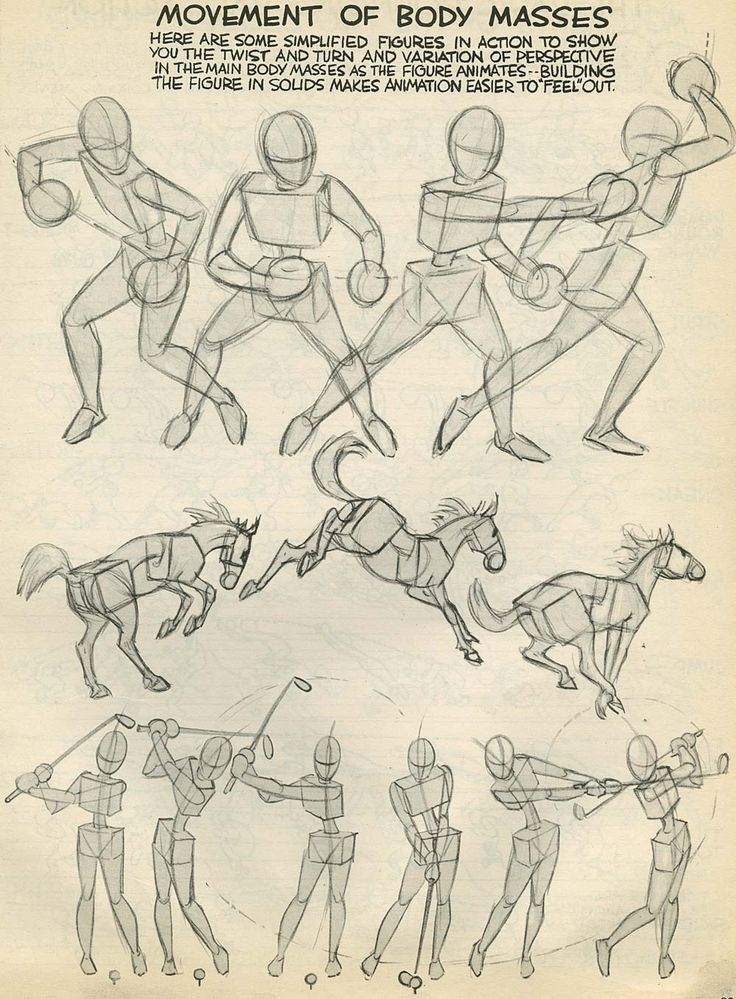 Preston blair movement of body masses drawing for Cartoon body tutorial