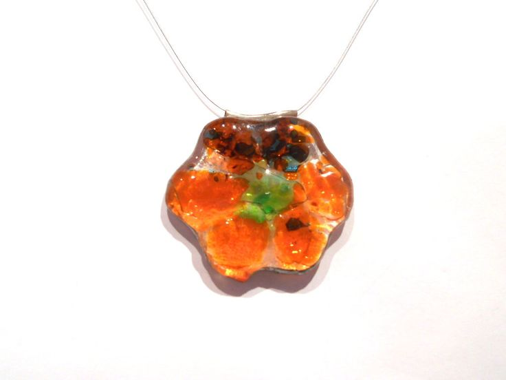 Flower pendant fused glass, glass art, orange, red, green,glass pendant, glass jewel, tiffany,still chain or silver, handmade jewelry,unique by LaTerraCanta on Etsy NEW!!