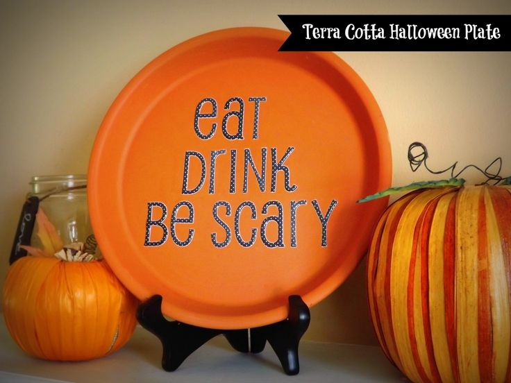Terra Cotta is the perfect fall color and these CHEAP frugal home decor plates can be made for under $3 with any phrase and for any holiday / season