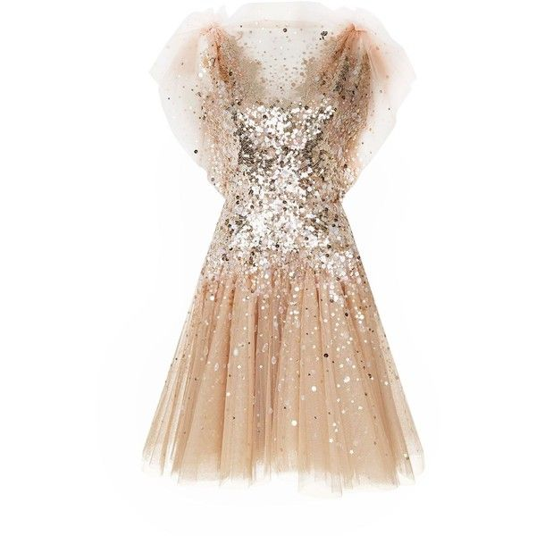 Jenny Packham Sequin Tulle Dress ($4,295) ❤ liked on Polyvore featuring dresses, red carpet dresses, ruched cocktail dress, sparkly dresses, sparkly party dresses and beige cocktail dress
