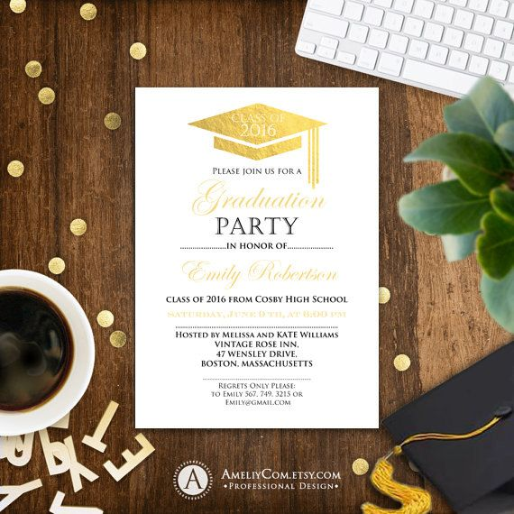 Graduation Invitation Template, College Graduation Announcement, Graduation  Party, Graduation Centerpiece, High School
