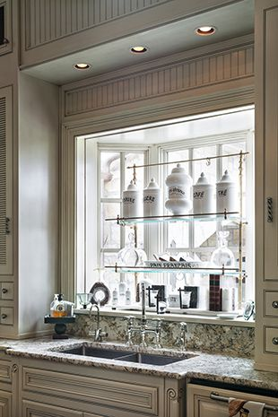 Shallow Bay Kitchen Window with Shelves :: Joy Tribout Interior Design