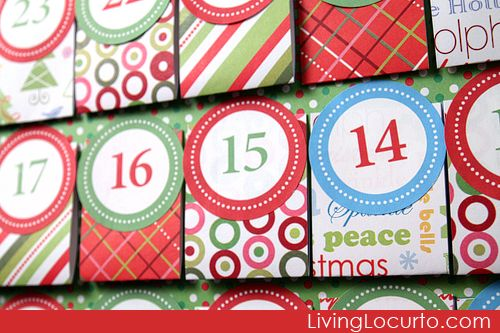 Free printable Advent calendar This is a cute idea, I'd do more Christmas-y papers and it might be cute to do a part of the biblical Christmas story or read a different Christmas time book (Frosty the Snowman...) each night and list a treat to eat while reading too.