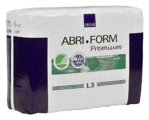 """Abena Abri-form Premium Brief, Large, L3, Case/80, (4/20s) by Abena Abri-Form Brief. $110.95. Cloth-backed brief-fully waterproof for maximum security. Certified free of dangerous chemicals and all known allergens-no perfumes, scents, oils. Features include wetness indicator, leakage barrier cuffs, elastic waistline, refastenable tapes. Abri-Form is a full range of All-in-One disposable briefs for all degrees of incontinence. Hip size: 40""""-60"""". Certified Absorbency - 115 oz...."""