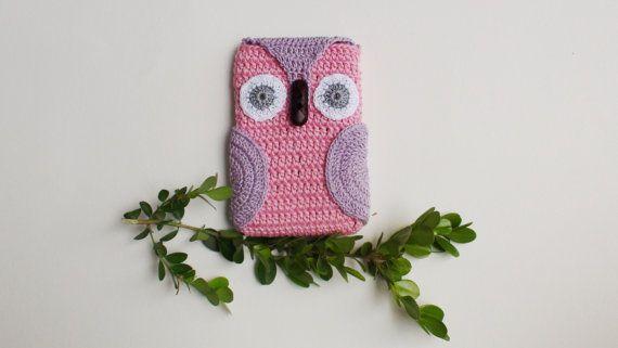 Crochet Pink #Owl Phone cozy Pink iPhone Cozygift от HelenKurtidu, €11.00