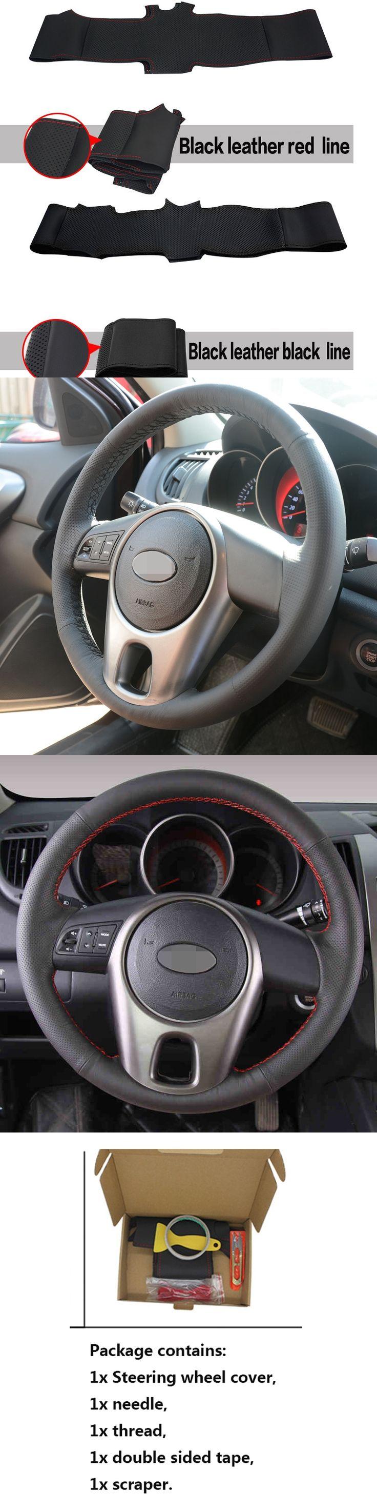 Hand-stitched Black Leather Steering Wheel Cover for Kia Forte Kia Soul Kia Rio 2009-2011