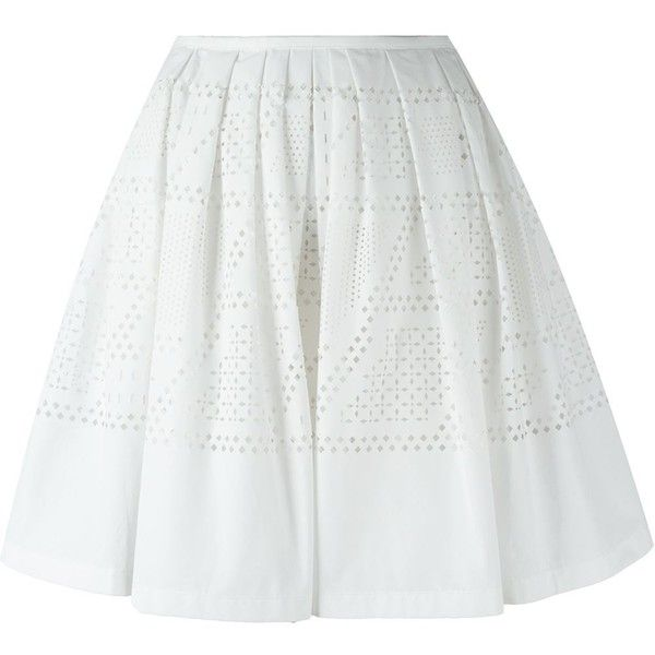 Fendi Laser Cut Detail Skirt (1,515 NZD) ❤ liked on Polyvore featuring skirts, white, high-waisted skirts, fendi, knee length pleated skirt, pleated skirt and white high waisted skirt