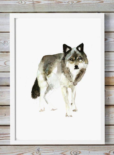 WOLF Aquarel  Giclee Print  schilderij dier  Wolven door Zendrawing