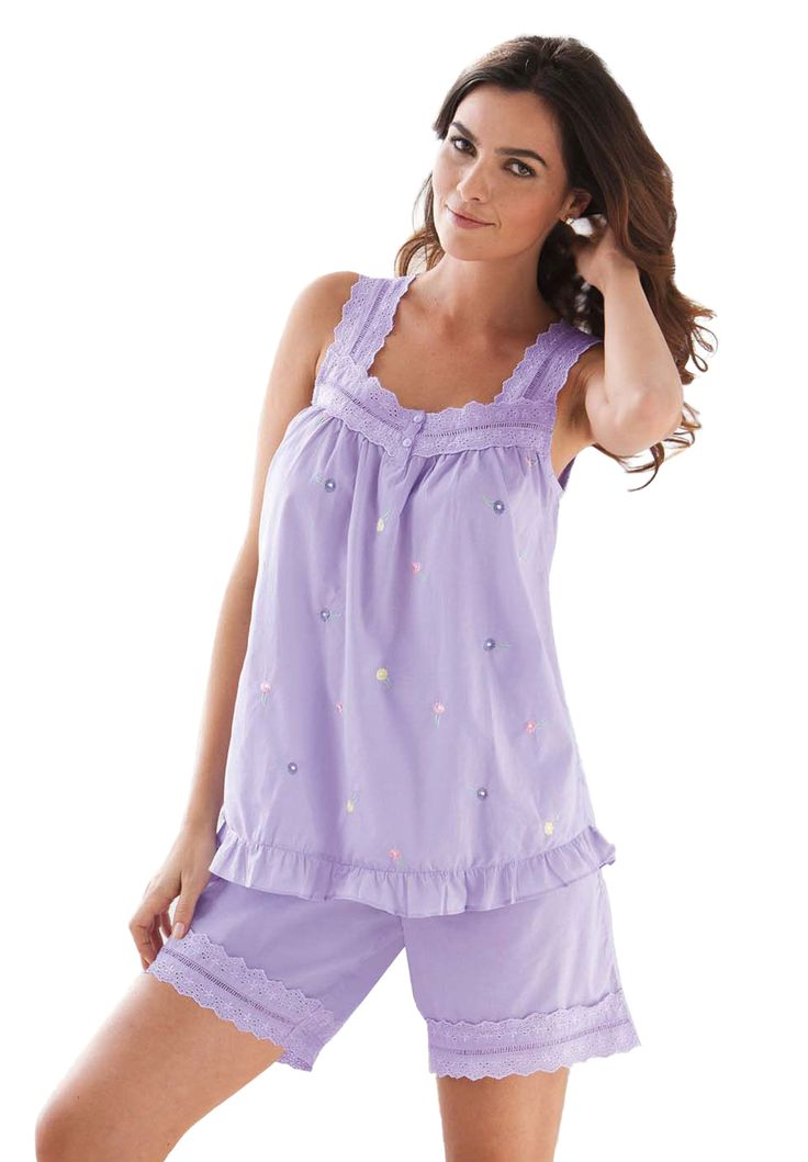 Woven short pjs by Dreams & Co.® | Plus Size Pajamas - Sets | Roamans