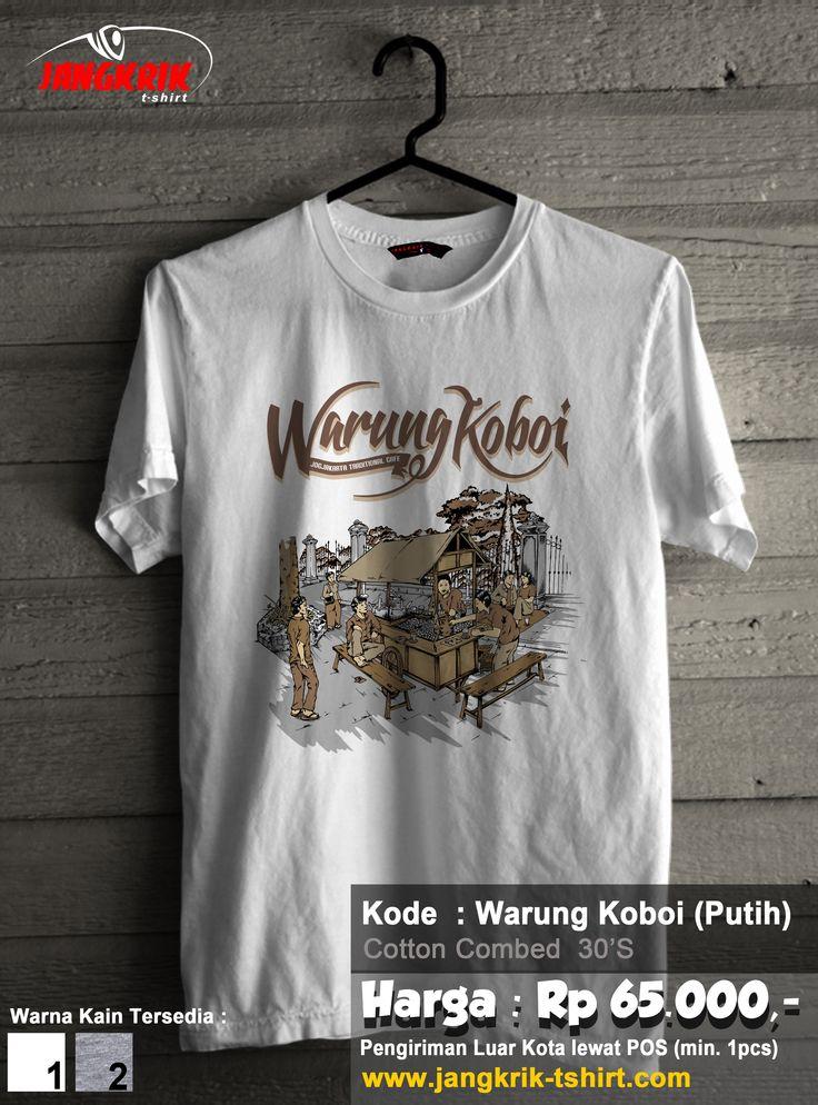 "READY STOCK ""Kaos Warung Koboi""  Bahan : cotton combed 30s  Warna : putih dan abu-abu misty Ukuran : S, M, L, XL  Rp 65.000  Melayani pengiriman ke seluruh Indonesia. Info pemesanan : SMS : 0877.3862.6309 BBM : 52820605"