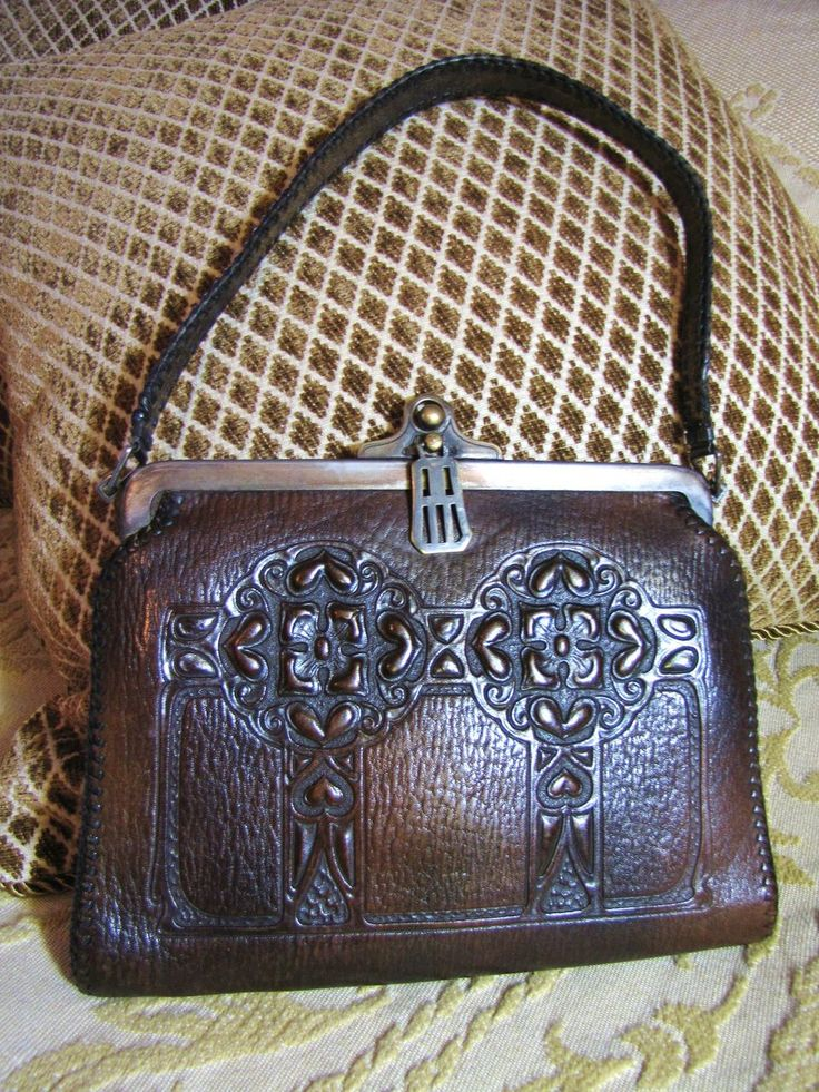 153 best art nouveau tooled leather images on pinterest for Arts and crafts tote bags
