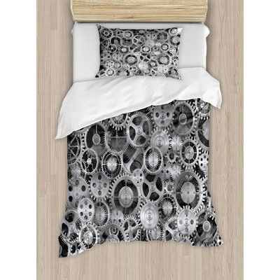 Ambesonne Clock A Background with Metal Realistic Cogwheels Engineering and Technologic Theme Pattern Duvet Cover Set Size: Queen