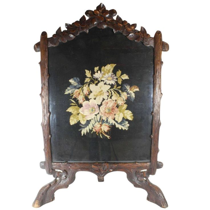 Late 19th Century Black Forest Fireplace Screen with 20th Century Needlepoint   From a unique collection of antique and modern fireplace tools and chimney pots at https://www.1stdibs.com/furniture/building-garden/fireplace-tools-chimney-pots/