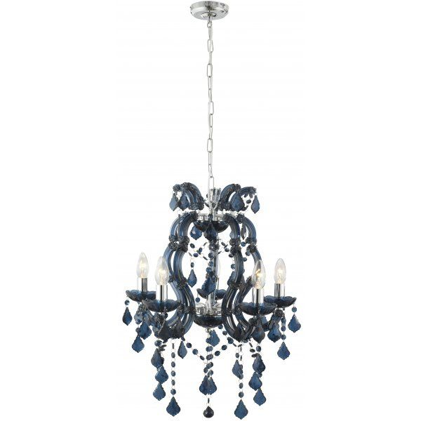 Searchlight Lighting Marie Therese 5 Light Blue Acrylic Chandelier With Glass And Chrome Detail