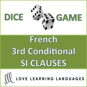 This is an easy to play 30 minute dice game to practice French 3rd conditional SI CLAUSES using the PAST CONDITIONAL. This game provides SI CLAUSE PROMPTS that must be completed using the past conditional tense.   My high school students love this game, and it can get very competitive if you decide to play it as a race (details are explained with the activity).   Students divide up into teams and play a dice game, the dice determining which SI CLAUSE PROMPT to use with an infinitive to be…
