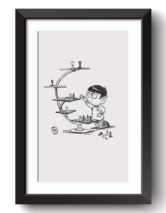 Description: Little Spock Playing 3D Chess - imagined from the TV and Movie series Star Trek and The Minions An 8.5 in by 11 Giclee print of a hand-drawn illustration completed by Billi French This art piece was hand drawn using a Pentel Pocket Brush Printing: Final print is printed on art quality Hammermill Digital cover 80 lb Paper using an Epson SureColor P400 Photo Printer  Shipping Details: Prints are shipped in a flat rigid cardboard mailer sandwiched between two flat cardboard pieces…