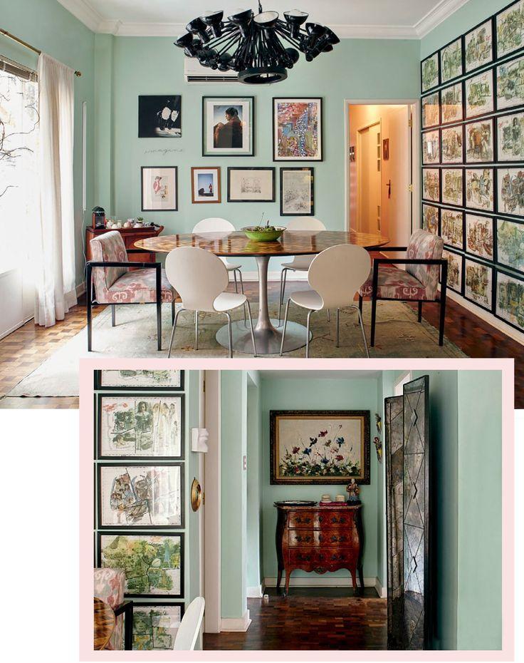 Aconchego e personalidade em apto com mix de estilos e paredes verde menta