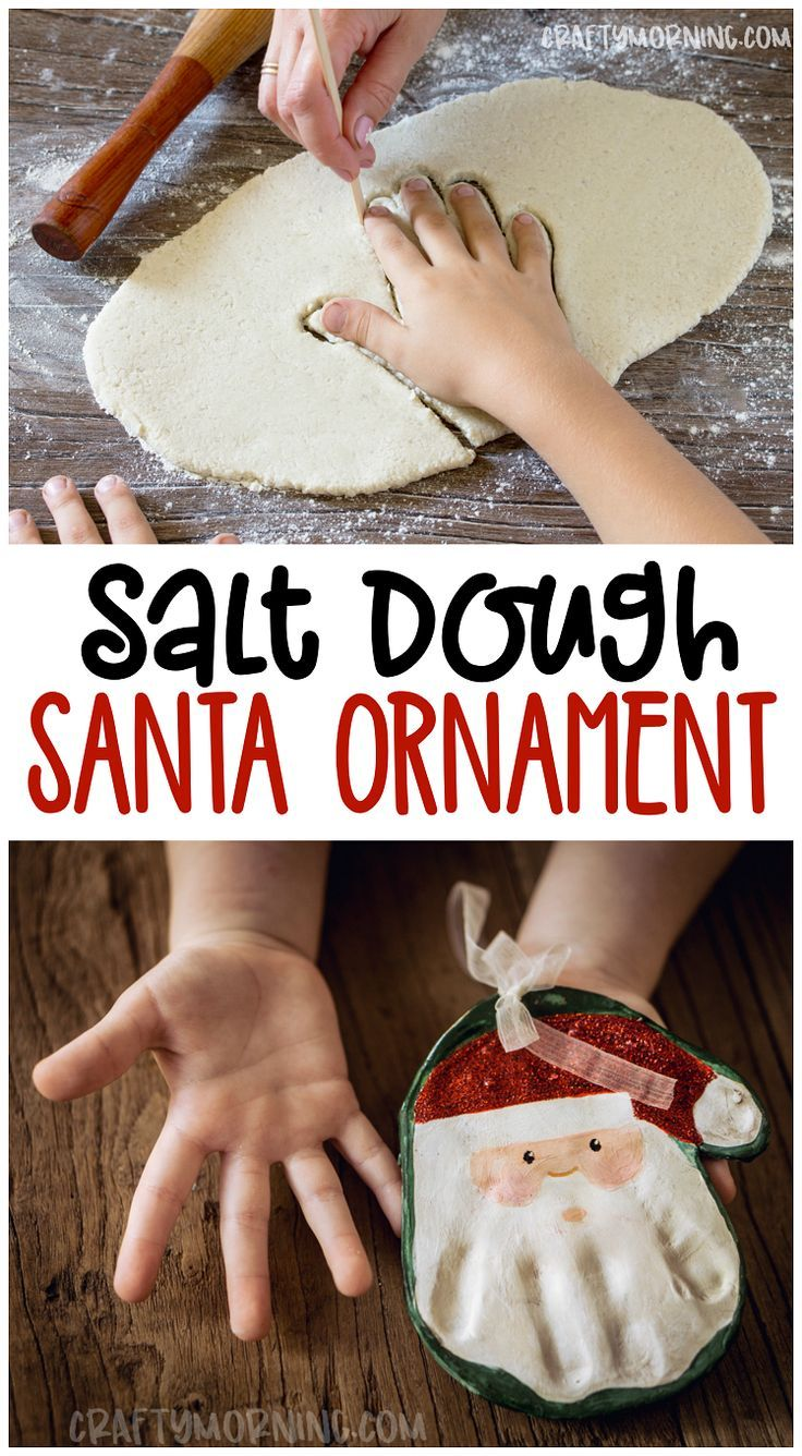 Make a salt dough santa ornament with your kids! Cute christmas craft for kids to make. They are adorable keepsake gift ideas for parents or grandparents. Cute for classrooms or daycares to make. Easy and cheap christmas ornaments to make. Art projects #christmas #christmasornaments #diyornaments #saltdoughornaments #christmasprojects #christmascrafts #craftymorning