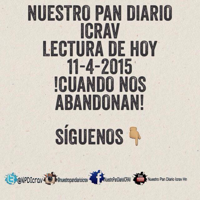 #Comando_De_Salvacion #Comparte#ElMsj#repost  #DifundamosLaPalabra #Nuestro_Pan_Diario_ICRAV #HagamosLaDiferencia #Capsula_Aumenta_Mi_Fe_ICRAV  #Citas_ICRAV  #Honduras#Usa#Jesus#Dios#Colombia#Guatemala#DiosMaestrodeluniverso   11/4/2015 Cuando nos abandonan De: Dennis Fisher Leer: 1 Samuel 17:33-50 … del Señor es la batalla, y él os entregará en nuestras manos… (v. 47). El 4 de agosto de 1991, el crucero MTS Océanos enfrentó una tormenta terrible frente a la costa de Sudáfrica. Cuando…
