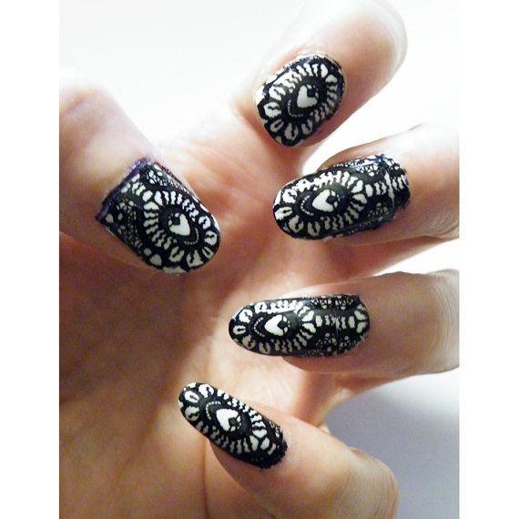 Black Lace Nail Art Nails Men or Women Manicure by tempusfugit, $5.00