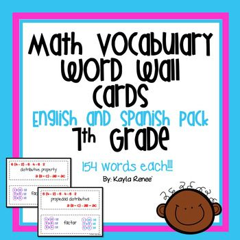 This pack includes both my 7th Grade Word Walls in both English and in Spanish!The products included in this pack are:7th Grade Math Word Wall - Original7th Grade Math Word Wall - In SpanishAll descriptions are included in each link. These are perfect for ELL students!