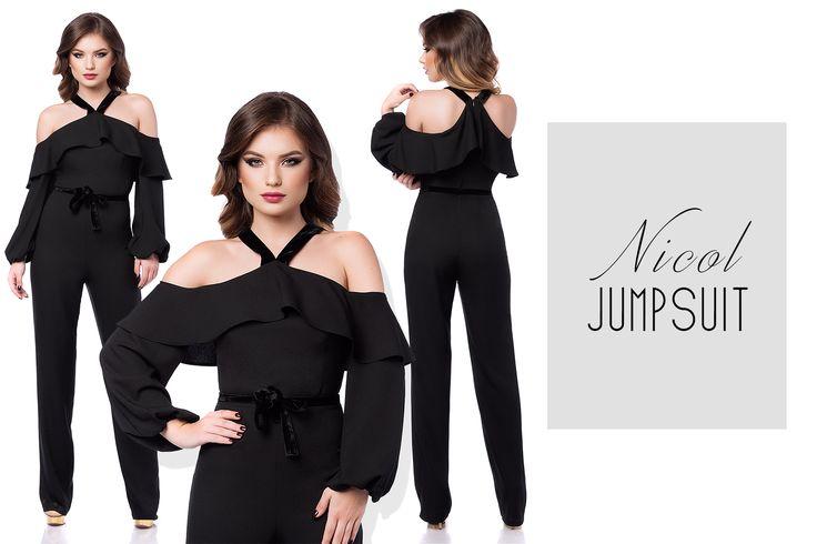 Black elegant jumpsuit for bold personalities: https://missgrey.ro/ro/salopete/salopeta-d-dama-eleganta-cu-volane-si-catifea-neagra-nicol/600?utm_campaign=noiembrie&utm_medium=salopeta_nicol_neagra&utm_source=pinterest_produs