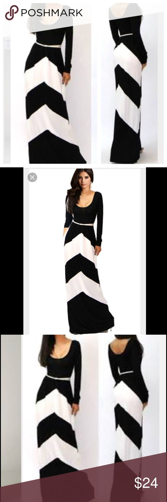 Maxi chevron dress New in package maxi dress chevron design, black and white.long sleeve, belt included. 💙bundle and save💙 Dresses Maxi