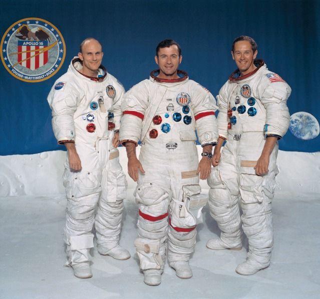 The Apollo 16 crew: Thomas K. Mattingly II, command module pilot; John W. Young, commander; and Charles M. Duke Jr., lunar module pilot.