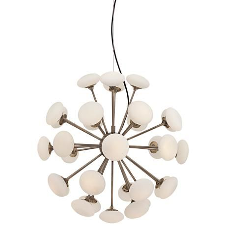 A celestial modern sputnik inspired led chandelier with antique bronze finish and white