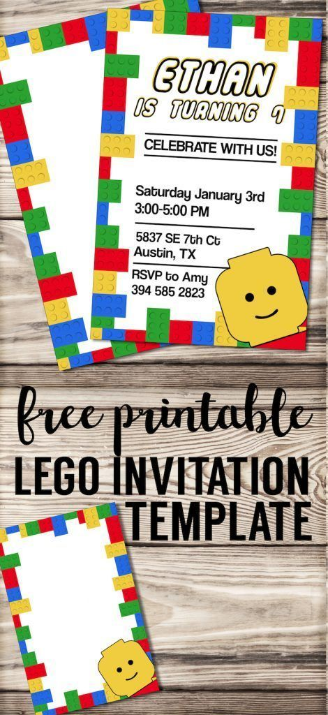 Free Printable Lego Birthday Party Invitation Template Editable DIY Kids Invitaiton Or Baby Shower