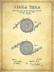 Nikola Tesla Patent Drawing From 1886 - Vintage Print by Aged Pixel