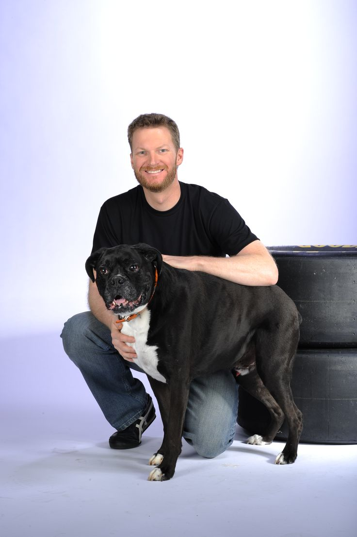 Dale Earnhardt Jr. portrait session. Dale Jr. with Killer, his adorable bull dog