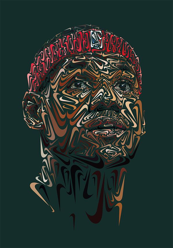 Incredible portraits of Tiger Woods and LeBron James made entirely from Nike swooshes