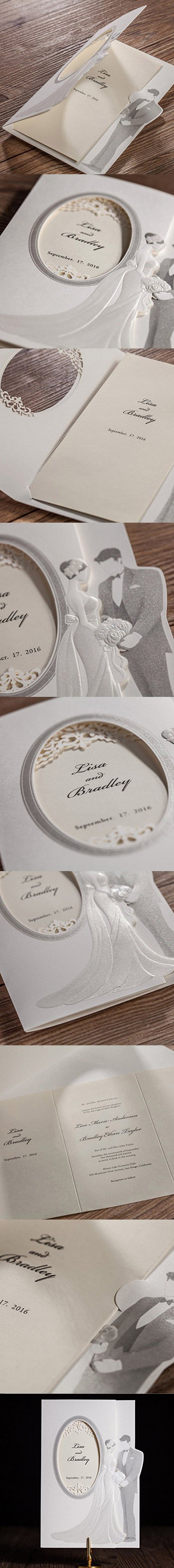invitation wordings for wedding by bride and groom%0A   pcs Wishmade Laser Cut Wedding Invitations Cards kit With Bride and Groom  Cardstock Paper For Engagement