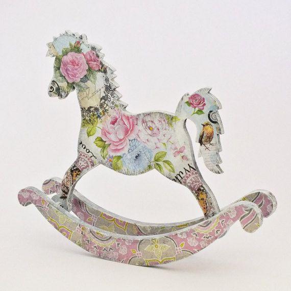 Rocking horse toy Wooden rocking horse by VintageLullabyDesign