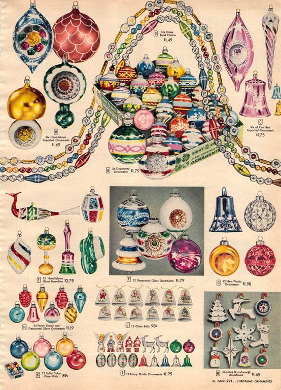 1956 Sears catalog page with Shiny-Brite Christmas ornaments.  (More at my blog!)